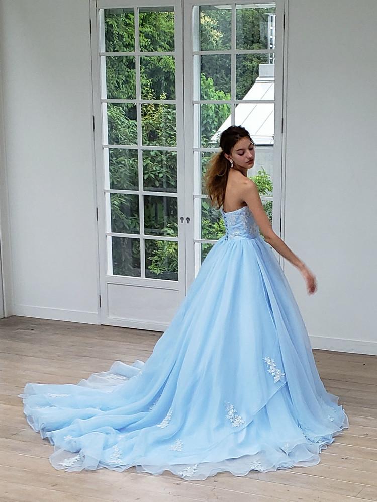 【Cinderella & Co.】ライトブルーのカラードレスSS4592LB 2枚目