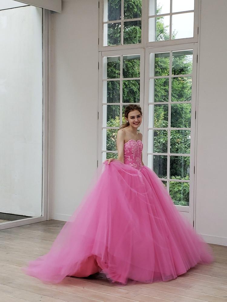 【Cinderella & Co.】ラズベリーピンクのカラードレスSS5982LP 1枚目