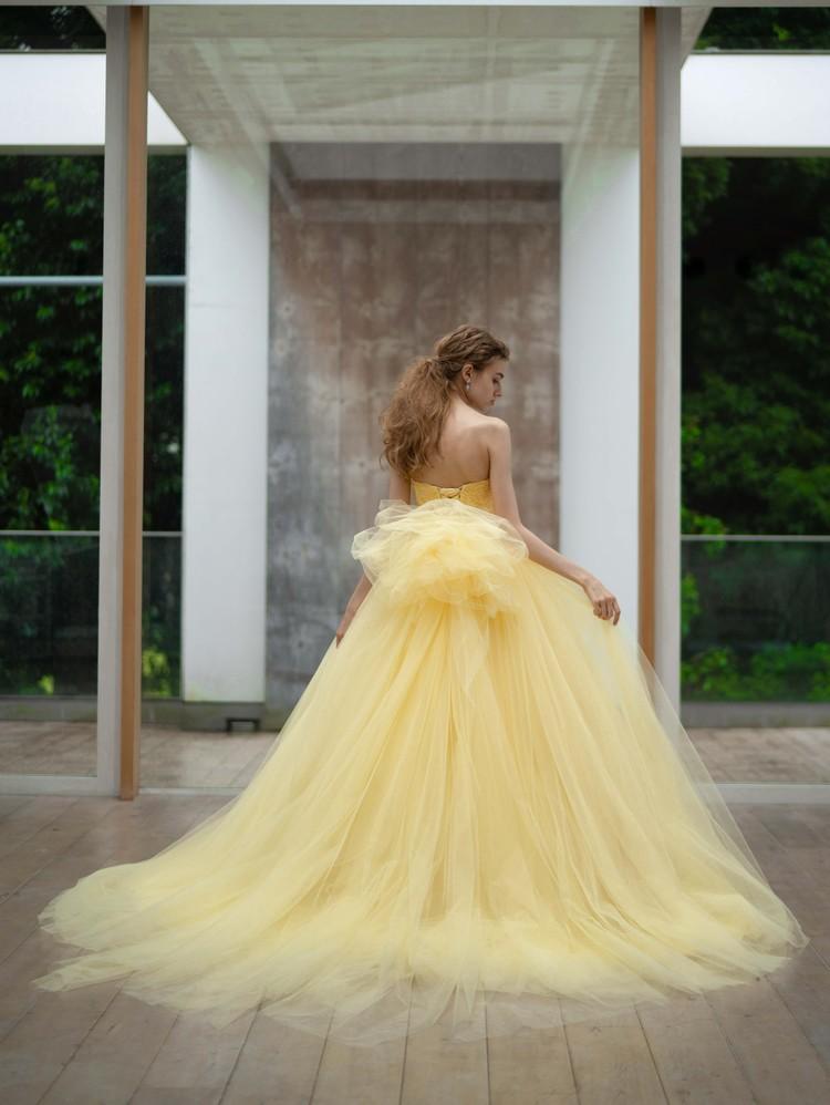 【Cinderella & Co.】イエローのチュールのカラードレスSS5982YE 1枚目