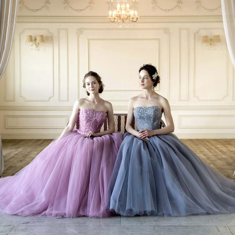 オシャレ花嫁にグレイッシュピンクのカラードレス!Emily SS5982PGR 2枚目