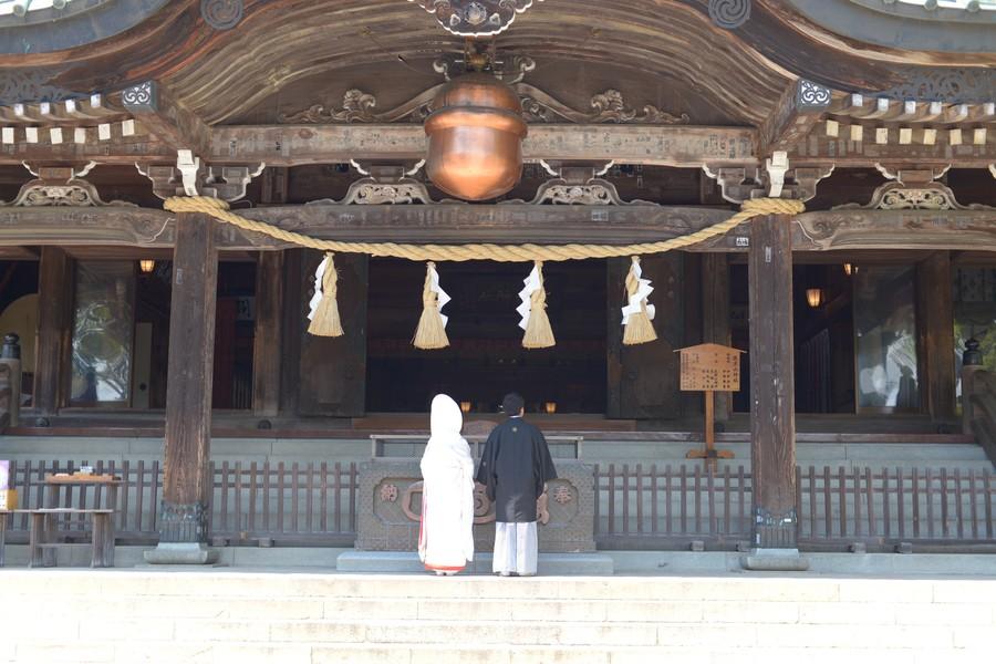 和装 ロケーション 神社 白無垢 綿帽子 紋付袴