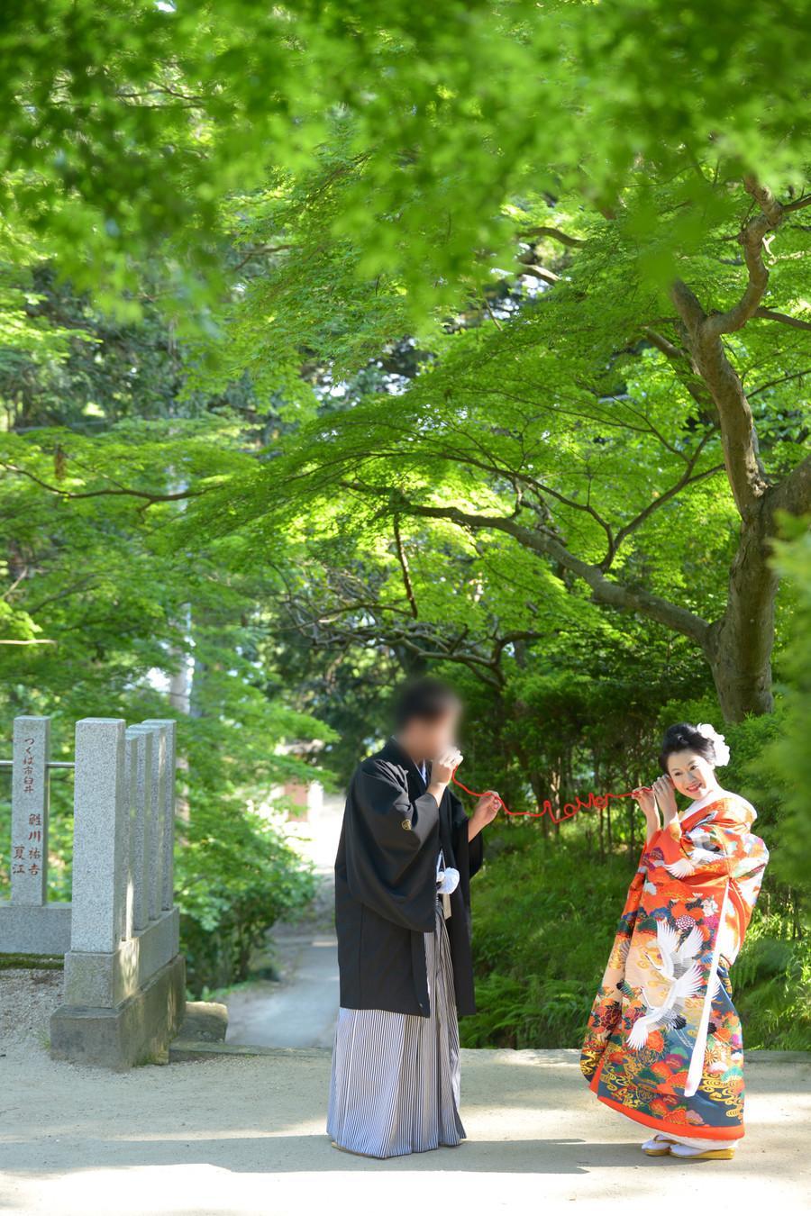 和装 色打掛け 紋付袴 ロケーション 神社 赤い糸 緑