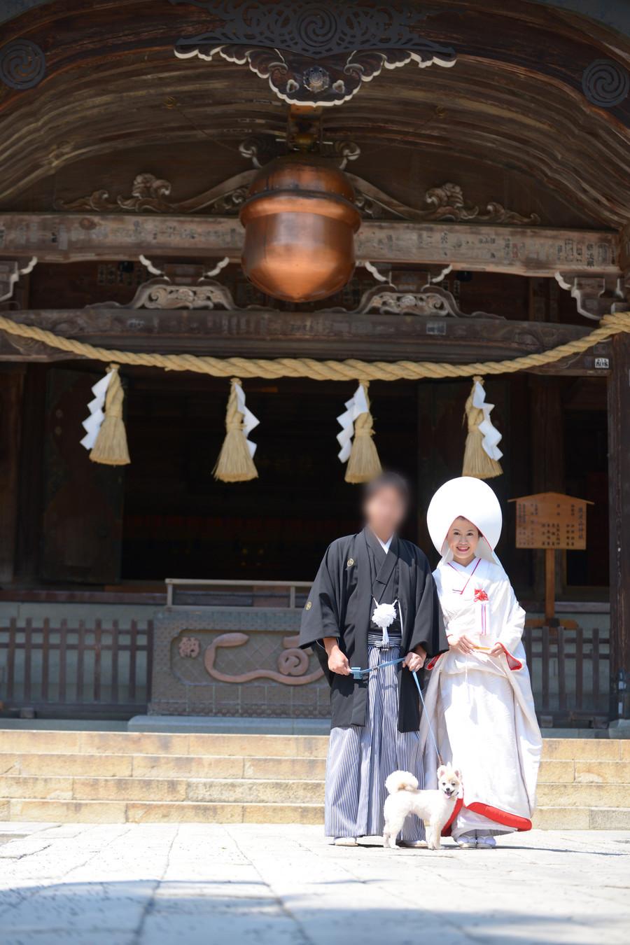 和装 白無垢 紋付袴 ロケーション 神社 ペットと一緒