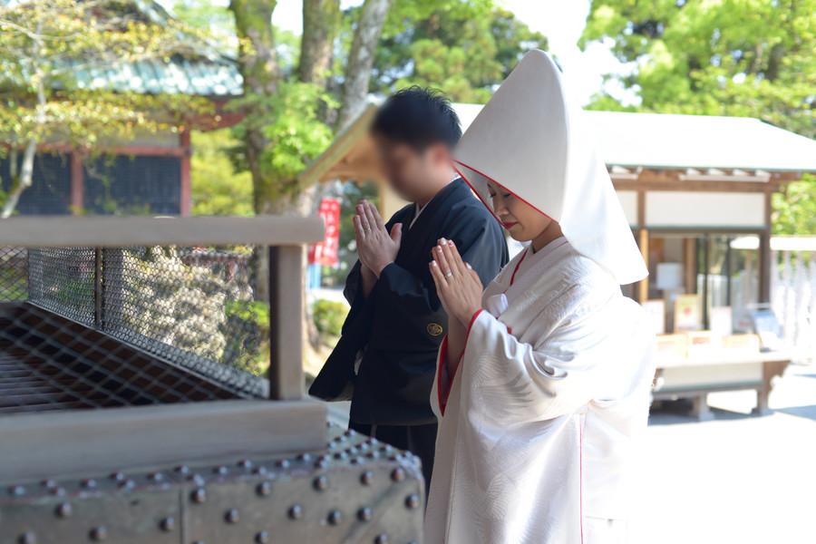 和装 白無垢 綿帽子 紋付袴 ロケーション 神社
