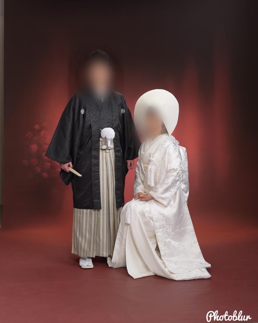 和装 白無垢 紋付袴 スタジオ 綿帽子