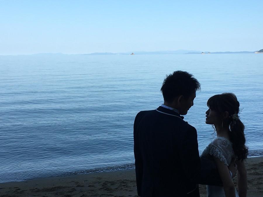 ドレス ロケーション ウェディングドレス タキシード 海