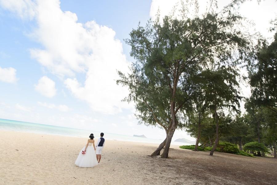 ハワイ フォトウェディング 新婚旅行 ガーデン ビーチ 海